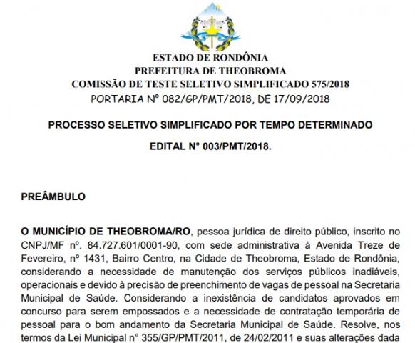 Inscrições para processo seletivo de Theobroma encerram na quinta